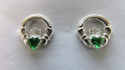 Claddagh Earrings Sterling Silver Green Stone